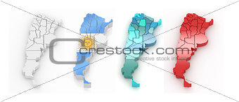 Three-dimensional map of Argentina