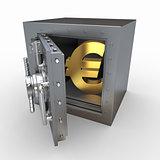 Euro sign in vault. 3d