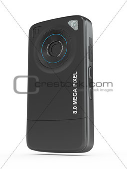 Black mobile phone with camera. 3d