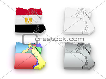 Three-dimensional map of Egypt