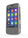 Metallic mobile phone. 3d