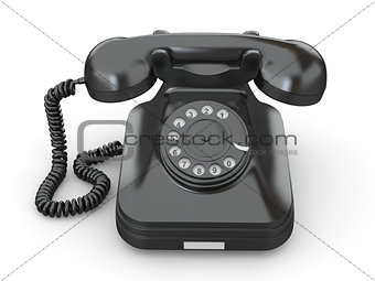 Old-fashioned phone on white isolated background