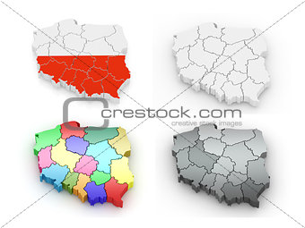 Three-dimensional map of Poland