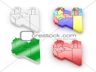 Three-dimensional map of Libya on white isolated background