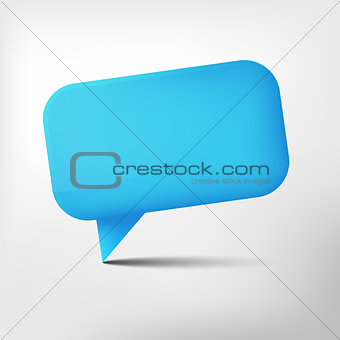 Abstract blue glossy speech bubble