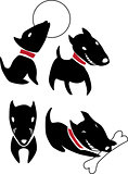 Set of funny cartoon  black dogs