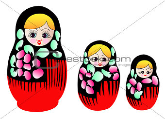 Matryoshka dolls in vector