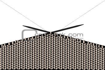 Background with knitting needles