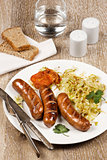 Grilled Sausage with Braised Cabbage