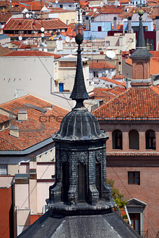 Aerial view of Madrid (Spain) / dome and roofs of the city