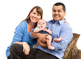 Mixed Race Young Family on White