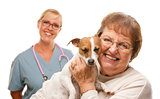 Happy Senior Woman with Dog and Veterinarian