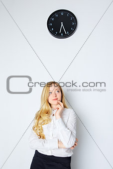 Office Girl Looking on Clock