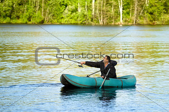 Fisherman in Rubber Boat