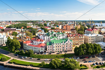 Panorama of old Vyborg town with port
