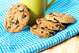 Chocolate chips cookies with a drink