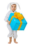 Child dressed as a rabbit with a jumbo gift