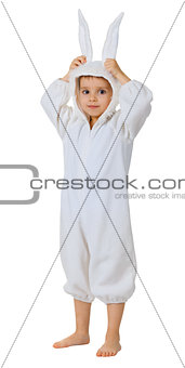 Boy dressed as a rabbit standing