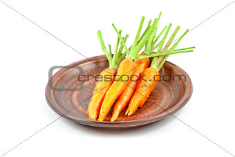carrot vegetable with leaves in brown plate