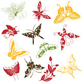 Butterflies ornaments set