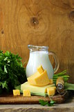 still life of dairy products (milk,  cheese)