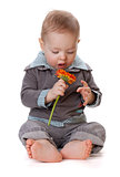 Small baby with orange flower