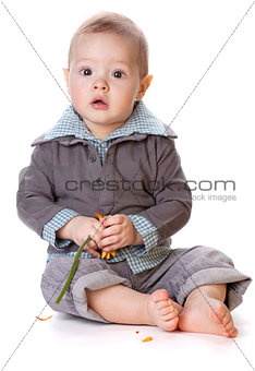 Baby with orange gerbera