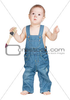 Small baby worker with paint brush