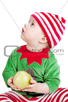 Small baby in santa suit