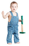 Small baby worker with hammer