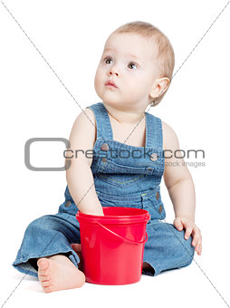 Small baby worker with toy bucket
