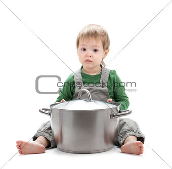 Baby with saucepan