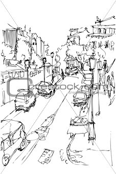 sketch of municipal street kind from a window