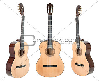 Six-string guitar isolated on white with clipping path included