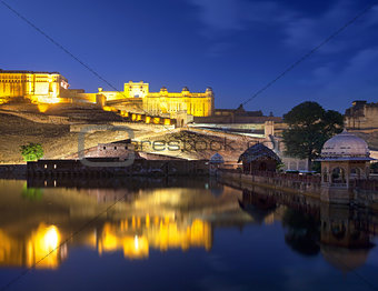 Amber Fort and Maota Lake at night.
