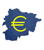 European currency symbol on map of Andorra