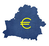 European currency symbol on map of Belarus