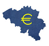 European currency symbol on map of Belgium