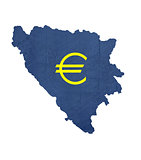 European currency symbol on map of Bosnia and Herzegovina