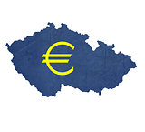 European currency symbol on map of Czech Republic
