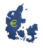 European currency symbol on map of Denmark