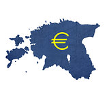 European currency symbol on map of Estonia