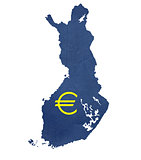 European currency symbol on map of Finland