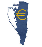 European currency symbol on map of Gibraltar