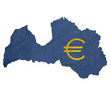 European currency symbol on map of Latvia