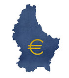 European currency symbol on map of Luxembourg