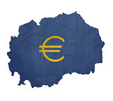 European currency symbol on map of Macedonia