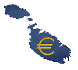 European currency symbol on map of Malta