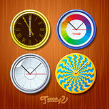 World time, watches on wooden wall, vector Eps10 illustration.