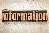 information word in wood type